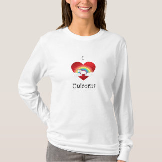 I heart unicorns on heart rainbow and clouds T-Shirt
