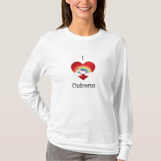 I heart unicorns on heart rainbow and clouds T-Shirt
