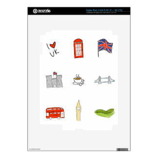 I Heart United Kingdom, British Love, UK landmarks Decal For iPad 3