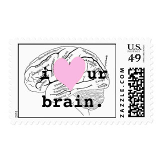 i heart ur brain. postage stamp