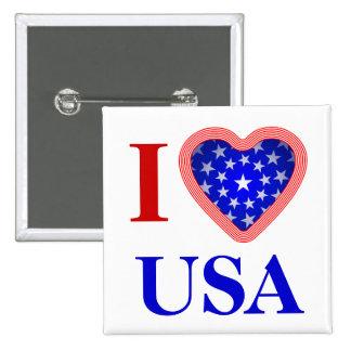 I Heart USA 2 Inch Square Button
