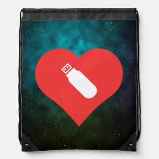 I Heart Usb Flash Drives Icon Cinch Bags