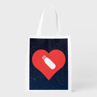 I Heart Usb Flash Drives Icon Reusable Grocery Bag