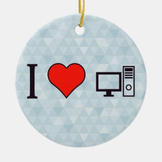 I Heart Using Desktop Ceramic Ornament