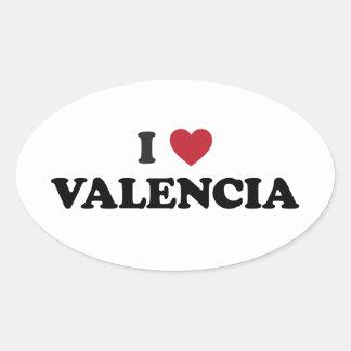 I Heart Valencia Oval Sticker
