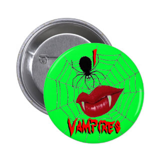 I Heart Vampires {Lime Green} 2 Inch Round Button