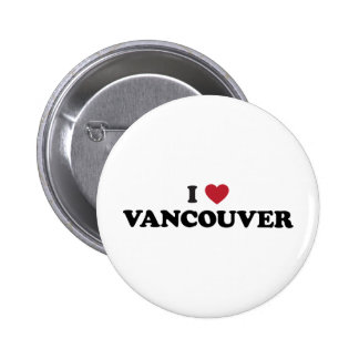 I Heart Vancouver Canada Pinback Buttons