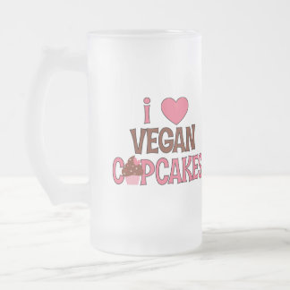 I Heart Vegan Cupcakes Frosted Glass Beer Mug
