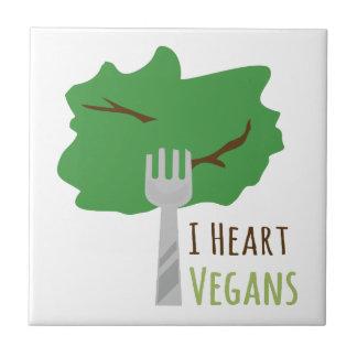 I Heart Vegans Ceramic Tiles