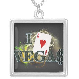 I Heart Vegas Square Pendant Necklace