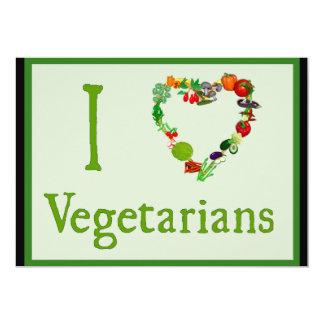 I Heart Vegetarians 5x7 Paper Invitation Card