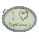 I Heart Vegetarians Belt Buckles