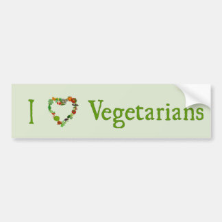 I Heart Vegetarians Bumper Sticker