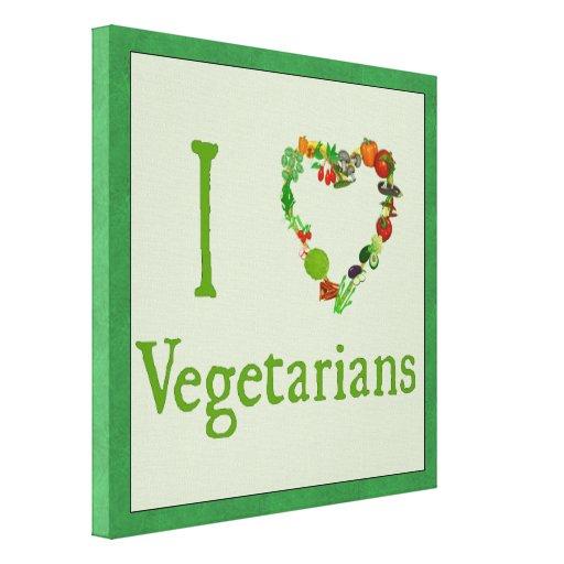 I Heart Vegetarians Gallery Wrap Canvas