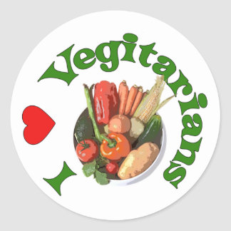 I Heart Vegetarians Classic Round Sticker