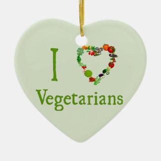 I Heart Vegetarians Double-Sided Heart Ceramic Christmas Ornament