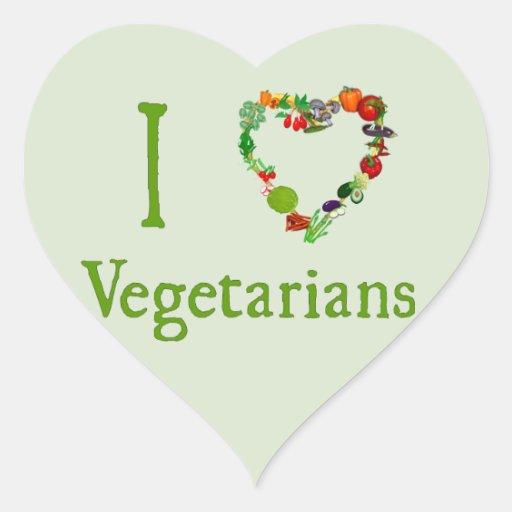 I Heart Vegetarians Heart Sticker