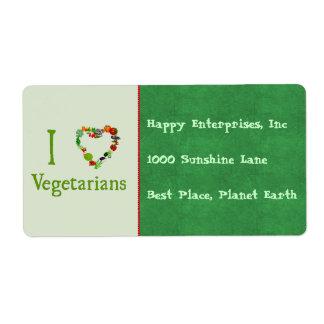 I Heart Vegetarians Label