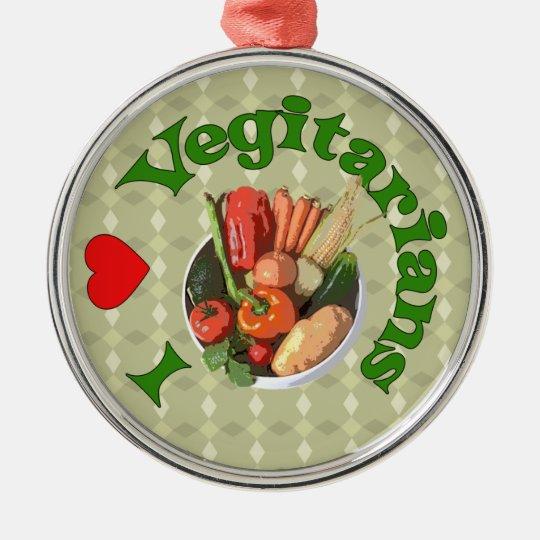 I Heart Vegetarians Metal Ornament
