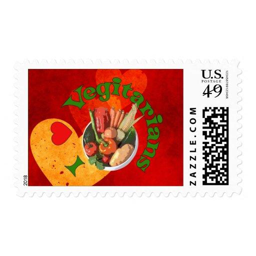 I Heart Vegetarians Stamp