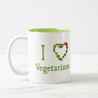 I Heart Vegetarians Two-Tone Coffee Mug