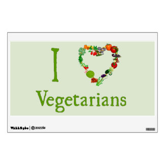 I Heart Vegetarians Wall Decal