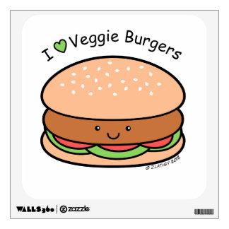 I Heart Veggie Burgers Wall Decal