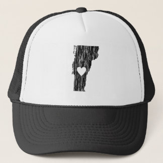 I Heart Vermont Grunge Look Outline State Love Trucker Hat