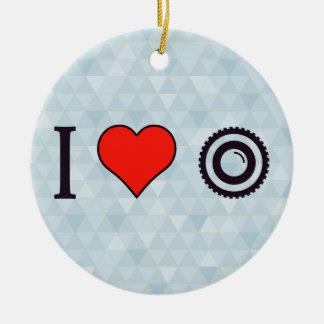 I Heart Video Cameras Ceramic Ornament
