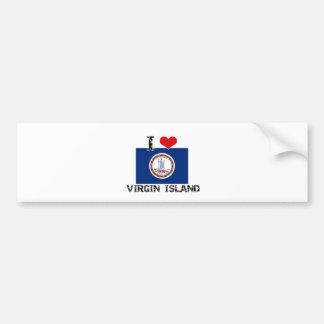 I HEART VIRGIN ISLAND CAR BUMPER STICKER