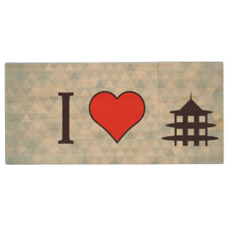 I Heart Visiting Chinese Temple Wood Flash Drive