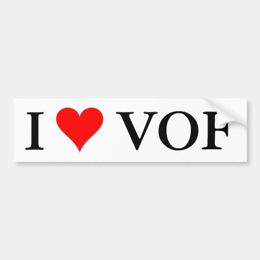 I heart VOF bumper sticker Car Bumper Sticker