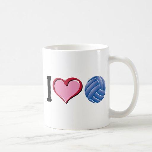 I heart volleyball classic white coffee mug