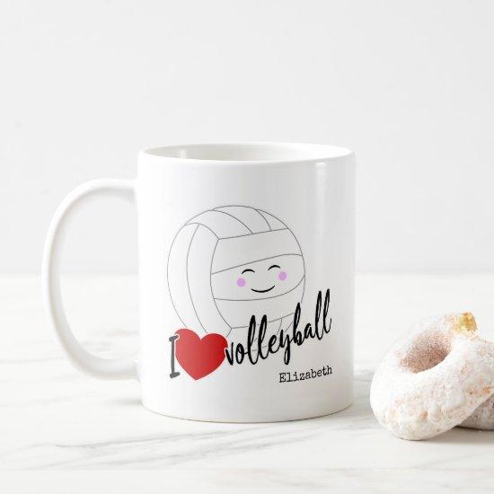 I heart volleyball happy kawaii girls' volleyball coffee mug