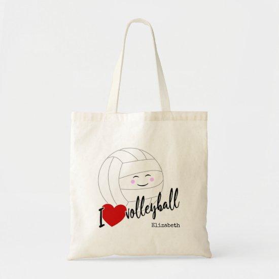 I heart volleyball happy kawaii girls' volleyball tote bag