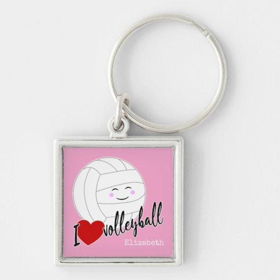 I heart volleyball happy kawaii volleyball pink keychain