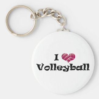 I heart volleyball (red) basic round button keychain