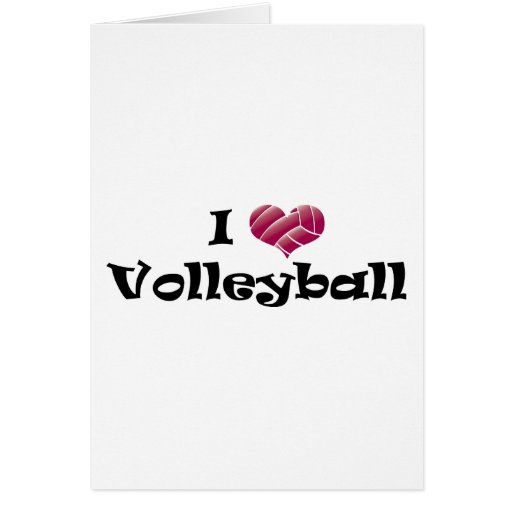 I heart volleyball (red) greeting card