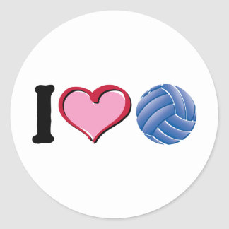 I heart volleyball classic round sticker