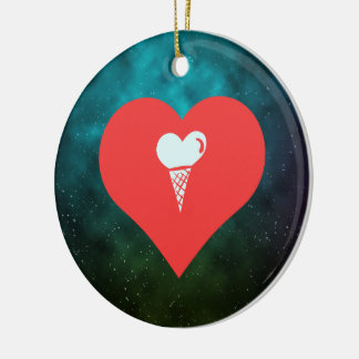 I Heart Waffle Cones Icon Double-Sided Ceramic Round Christmas Ornament