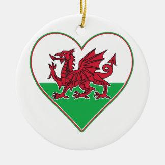 I Heart Wales Ceramic Ornament
