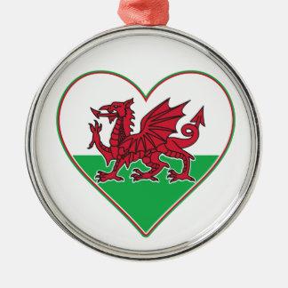 I Heart Wales Metal Ornament