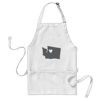 I Heart Washington Grunge Look Outline State Love Adult Apron