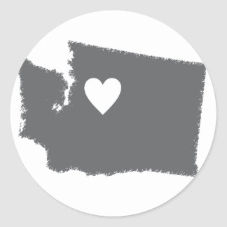 I Heart Washington Grunge Look Outline State Love Classic Round Sticker