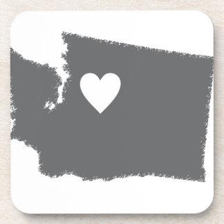 I Heart Washington Grunge Look Outline State Love Coaster