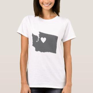 I Heart Washington Grunge Look Outline State Love T-Shirt