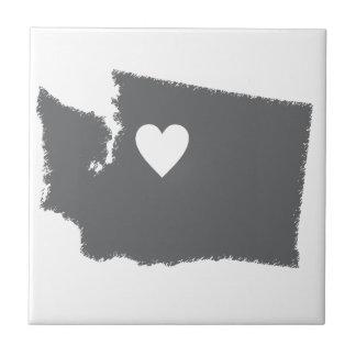 I Heart Washington Grunge Look Outline State Love Tile