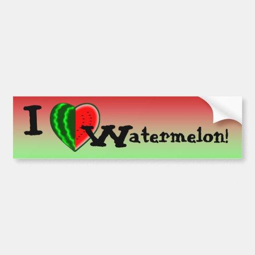 I (Heart) Watermelon Car Bumper Sticker
