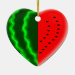 I (Heart) Watermelon Double-Sided Heart Ceramic Christmas Ornament