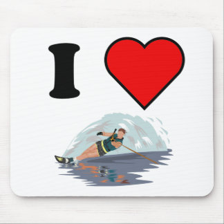 I Heart Waterskiing Mouse Pad